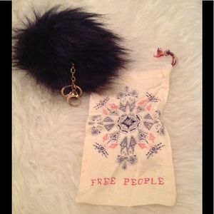 NEW! free People navy faux fur puff keychain/ bag